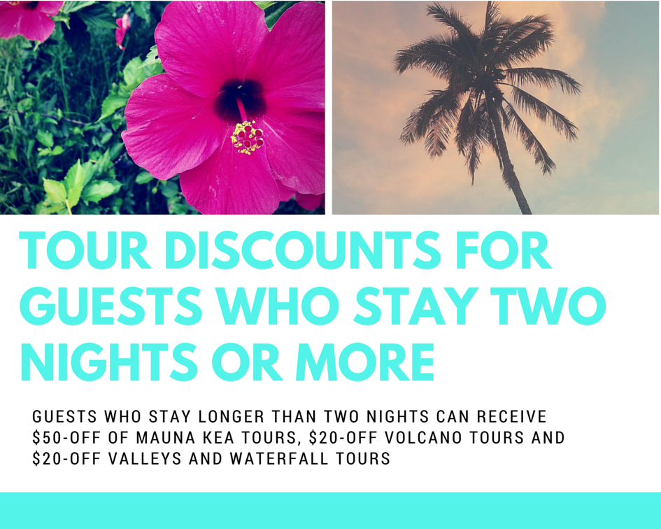 Discounts for 2 nights or more