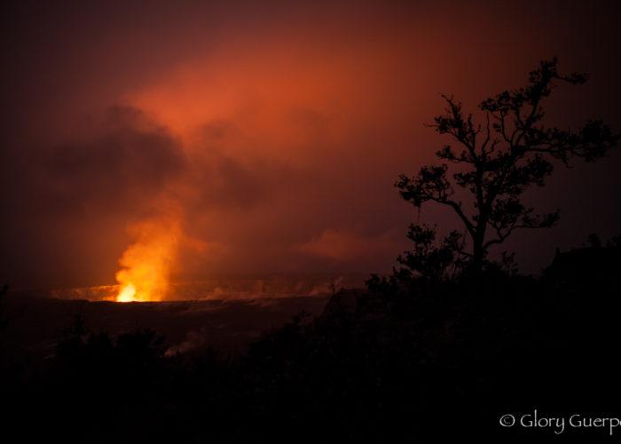 Halemaumau Crater at night