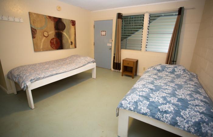Common open dorm, twin beds