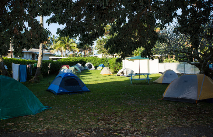 Campground tents Hilo Hawaii