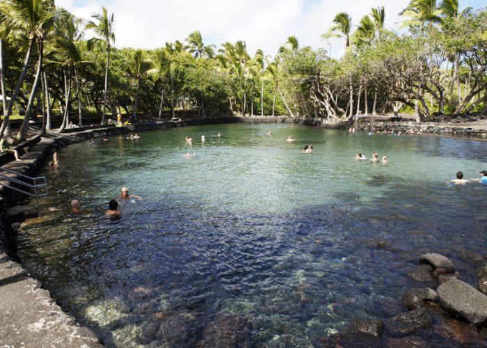 Ahalanui geothermally heated pool.